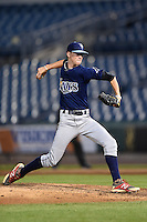 Brady Singer (7) of Tavares High School in Leesburg, Florida playing for the Tampa Bay Rays scout team during the East Coast Pro Showcase on August 1, 2014 at NBT Bank Stadium in Syracuse, New York.  (Mike Janes/Four Seam Images)