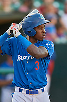 Sauryn Lao (3) of the Ogden Raptors at bat against the Orem Owlz at Lindquist Field on September 3, 2019 in Ogden, Utah. The Raptors defeated the Owlz 12-0. (Stephen Smith/Four Seam Images)