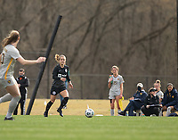 LOUISVILLE, KY - MARCH 13: Lauren Milliet #2 of Racing Louisville FC looks to pass the ball during a game between West Virginia University and Racing Louisville FC at Thurman Hutchins Park on March 13, 2021 in Louisville, Kentucky.