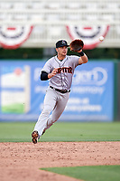 Jupiter Hammerheads second baseman Justin Bohn (3) fields a ground ball during a game against the Fort Myers Miracle on April 9, 2017 at CenturyLink Sports Complex in Fort Myers, Florida.  Jupiter defeated Fort Myers 3-2.  (Mike Janes/Four Seam Images)