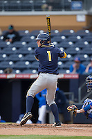 Robbie Tenerowicz (1) of the California Golden Bears at bat against the Duke Blue Devils at Durham Bulls Athletic Park on February 20, 2016 in Durham, North Carolina.  The Blue Devils defeated the Golden Bears 6-5 in 10 innings.  (Brian Westerholt/Four Seam Images)