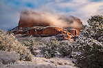 Morning Light on Courthouse Butte ©2017 James D Peterson.  Sedona's red rocks become even more magical when dressed up in a fresh coat of snow.