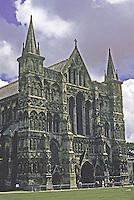 Salisbury: Salisbury Cathedral, West Front, 3/4 elevation. Photo '90.