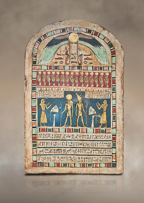 Ancient Egyptian stele dedicated to Ra-Harakhty & Atum by Psetjerfi, Late Period 26th Dynasty, (590-525 BC), Cat 1568. Egyptian Museum, Turin. <br /> <br /> Gifted by the Cairo Museum