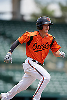 GCL Orioles second baseman Tyler Coolbaugh (6) runs to first base during a game against the GCL Rays on July 21, 2017 at Ed Smith Stadium in Sarasota, Florida.  GCL Orioles defeated the GCL Rays 9-0.  (Mike Janes/Four Seam Images)