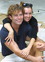 """EXCLUSIVE<br /> Miami Beach, FL 1-20-2002<br /> Anthony Shriver is joined by his<br /> wife Alina at Romero Britto's impromptu <br /> """"Paint Party"""", an afternoon of painting <br /> for friends and their families.<br /> Photo by Adam Scull/PHOTOlink"""