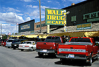 "Main St. business district. Wall Drug and Cafe made famous by road signs offering """"FREE ICE WATER - WALL DRUG"""" to tourists traveling to Badlands National Park."