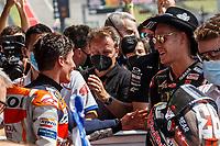 3rd October 2021; Austin, Texas, USA; Marc Marquez (93) - (SPA)and Fabio Quartararo (20) - (FRA) congratulations after the MotoGP Red Bull Grand Prix of the Americas