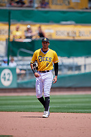 Jake Gatewood (8) of the Salt Lake Bees during the game against the Las Vegas Aviators at Smith's Ballpark on June 27, 2021 in Salt Lake City, Utah. The Aviators defeated the Bees 5-3. (Stephen Smith/Four Seam Images)