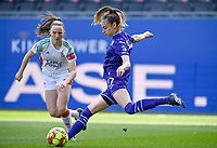 Estee Cattoor (11) of OHL pictured watching Tessa Wullaert (27) of Anderlecht during a female soccer game between Oud Heverlee Leuven and RSC Anderlecht on the 2nd matchday of play off 1 in the 2020 - 2021 season of Belgian Womens Super League , saturday 17 th of April 2021  in Heverlee , Belgium . PHOTO SPORTPIX.BE | SPP | DAVID CATRY