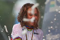 28th August 2021; Commezzadura, Trentino, Italy;  2021 Mountain Bike Cycling World Championships, Val di Sole; Cross Country, Womens Under 23,  Mona MITTERWALLNER (AUT) takes the gold medal.