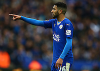 Riyad Mahrez of Leicester City points during the Barclays Premier League match between Leicester City and Swansea City played at The King Power Stadium, Leicester on 24th April 2016