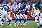 Buffalo Bills guard Wyatt Teller (75) and Dion Dawkins (73) block during an NFL football game against the New York Jets, Sunday, December 9, 2018, in Orchard Park, N.Y.  (Mike Janes Photography)