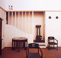 Furniture designed by Charles Rennie Mackintosh at Glasgow School of Art. Art Nouveau style
