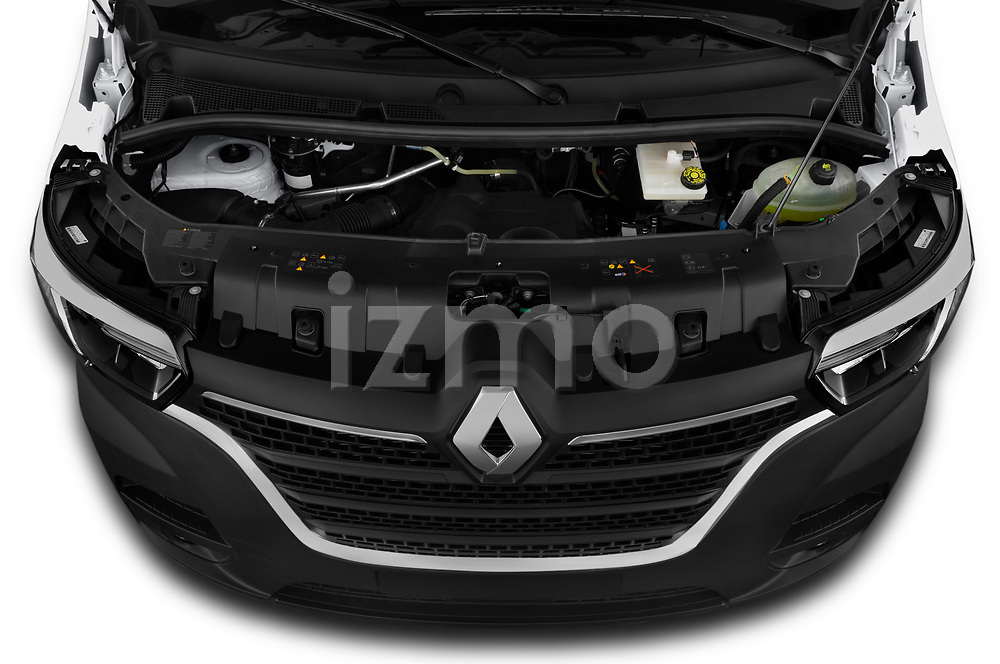 Car stock 2020 Renault Master Confort 4 Door Cargo Van engine high angle detail view