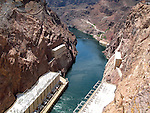 View down Colorado River from Hoover Dam with powerplant in the foreground.