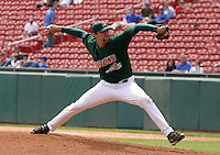 May 19, 2005:  Pitcher Andrew Brown of the Buffalo Bisons during a game at Dunn Tire Park in Buffalo, NY.  Buffalo is the International League Triple-A affiliate of the Cleveland Indians.  Photo by:  Mike Janes/Four Seam Images