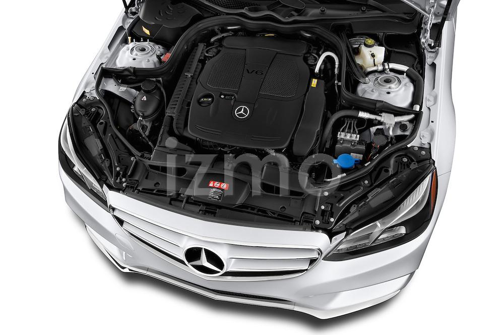 High angle engine detail of a  2014 Mercedes E350 Sedan