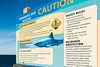 Shark warning and beach advisory, Truro, Cape Cod, Massachusetts, USA