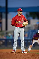 Palm Beach Cardinals relief pitcher Will Latcham (26) looks in for the sign during a game against the Charlotte Stone Crabs on April 21, 2018 at Charlotte Sports Park in Port Charlotte, Florida.  Charlotte defeated Palm Beach 5-2.  (Mike Janes/Four Seam Images)
