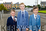 Sean Óg Murphy, Darragh Sheehan and Harry Eggleston from Listellick NS at their First Holy Communion in St Brendan's Church on Saturday.