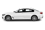 Car Driver side profile view of a 2019 BMW 5-Series M-Sport 4 Door Sedan Side View