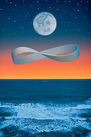 Digital illustration: Moon and Infinity Over Ocean.
