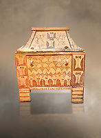Minoan  pottery gabled larnax coffin chest with double axe and papyrus decorations,  Anthanatoi 1370-1250 BC, Heraklion Archaeological  Museum.