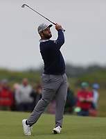 14th July 2021; The Royal St. George's Golf Club, Sandwich, Kent, England; The 149th Open Golf Championship, practice day; Jon Rahm (ESP) plays from the fairway on the 1st hole