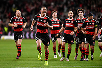 1st May 2021; Bankwest Stadium, Parramatta, New South Wales, Australia; A League Football, Western Sydney Wanderers versus Sydney FC; Mitch Duke of Western Sydney Wanderers celebrates after scoring to  make it 2-0 in the 16th minute