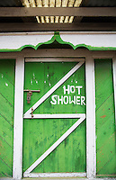 Nepal Himalayas  Typical shower house for  travel-worn tourists Solukhumbu colorful remote Mt Everest