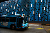 Port Authority buses drive through downtown on Monday March 23, 2020 in Pittsburgh, Pennsylvania. (Photo by Jared Wickerham/Pittsburgh City Paper)