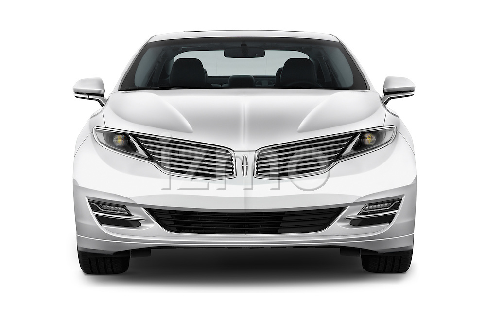 Car photography straight front view of a 2016 Lincoln MKZ Hybrid 4 Door Sedan Front View