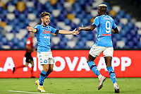 Dries Mertens of SSC Napoli celebrates with Victor Osimhen after scoring the goal of 3-0 during the Serie A football match between SSC Napoli and Genoa CFC at San Paolo stadium in Napoli (Italy), September 27th, 2020. Photo Cesare Purini / Insidefoto