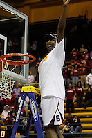 BERKELEY, CA - MARCH 30: Nneka Ogwumike cuts down the net following Stanford's 74-53 win against the Iowa State Cyclones on March 30, 2009 at Haas Pavilion in Berkeley, California.
