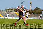 Michael Lenihan, Dr. Crokes in action against Eoghan McKivergan, Tralee Parnells  during the Kerry County Intermediate Hurling Championship Final match between Dr Crokes and Tralee Parnell's at Austin Stack Park in Tralee
