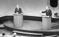 resident Gerald Ford and Jimmy Carter meet at the Walnut Street Theater in Philadelphia to debate domestic policy during the first of the three Ford-Carter Debates, 23 September 1976.<br /> <br /> PHOTO : David Hume Kennerly
