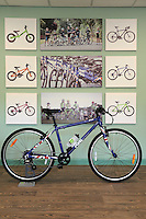 Pictured: One of the bicycles in the colours of the British flag assembled at the plant Monday 15 August 2016<br />Re: Frog Bikes in Mamhilad Estate Park in Pontypool, Wales, UK