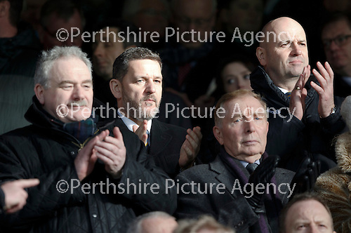 Hibs v St Johnstone...30.01.16   Utilita Scottish League Cup Semi-Final, Tynecastle..<br /> St Johnstone Chairman Steve Brown and Vice Chairman Charlie Fraser applaud the teams as they walk out<br /> Picture by Graeme Hart.<br /> Copyright Perthshire Picture Agency<br /> Tel: 01738 623350  Mobile: 07990 594431
