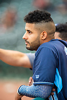 Corpus Christi Hooks infielder Anibal Sierra (10) watches from the dugout on May 1, 2019, at Arvest Ballpark in Springdale, Arkansas. (Jason Ivester/Four Seam Images)