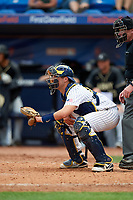 Michigan Wolverines catcher Harrison Salter (11) during a game against Army West Point on February 18, 2018 at Tradition Field in St. Lucie, Florida.  Michigan defeated Army 7-3.  (Mike Janes/Four Seam Images)
