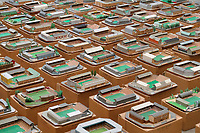 BNPS.co.uk (01202 558833)<br /> Pic: Zachary Culpin/BNPS<br /> <br /> An incredible collection of model football stadiums handmade by a soccer fan have sold for almost £19,000 after being found in a storage unit.<br /> <br /> Model-maker John Le Maitre created miniature versions of all 92 English Football League club grounds from the 1980s, as well as the old Wembley Stadium.<br /> <br /> They featured on a Blue Peter episode that year and are a throwback to a bygone age when football grounds with their banks of terraces looked very different to today's super stadiums.