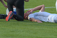 Michael Schindele (SSV Ulm 1846 #3) and einer blutigen Kopfverletzung , SSV Ulm 1846 - Eintracht Frankfurt, Football, DFB-Pokal,round 1, 18.08.2018<br />DFB RULES PROHIBIT USE IN MMS SERVICES VIA HANDHELD DEVICES UNTIL TWO HOURS AFTER A MATCH AND ANY USAGE ON INTERNET OR ONLINE MEDIA SIMULATING VIDEO FOOdayE DURING THE MATCH. *** Local Caption *** © pixathlon<br /> Contact: +49-40-22 63 02 60 , info@pixathlon.de
