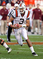 CHARLOTTESVILLE, VA- NOVEMBER 12: Quarterback Logan Thomas #3 of the Virginia Tech Hokies runs with the ball during the game against the Virginia Cavaliers on November 28, 2011 at Scott Stadium in Charlottesville, Virginia. Virginia Tech defeated Virginia 38-0. (Photo by Andrew Shurtleff/Getty Images) *** Local Caption *** Logan Thomas