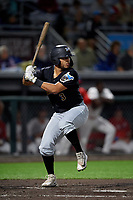 West Virginia Black Bears Elys Escobar (3) at bat during a NY-Penn League game against the Auburn Doubledays on August 23, 2019 at Falcon Park in Auburn, New York.  West Virginia defeated Auburn 6-5, the second game of a doubleheader.  (Mike Janes/Four Seam Images)