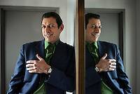 Comedic film actor JEFF GOLDBLUM is currently on a Broadway run as an interogator in a totalitarian state in THE PILLOWMAN.  Flatotel, W. 52 St., NYC.  Newsday/ARI MINTZ  3/29/2005.