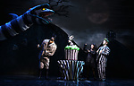 """Sophia Anne Caruso and Alex Brightman during the """"Beetlejuice"""" Celebrates 100th Performance on Broadway with Big Sandy the Sandworm, Shrunken Head Guy and a cake designed by Carlo's Bakery at the Winter Garden Theatre on July 23, 2019 in New York City."""
