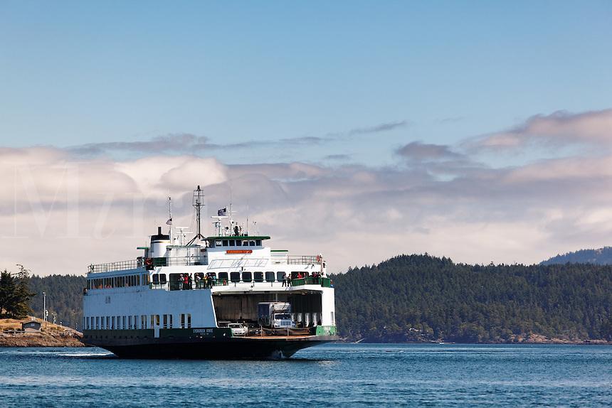 Washington State ferry MV Evergreen State arriving at Friday Harbor, San Juan County, Washington. USA