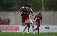 Matt Taylor of Chesham United takes a shot at goal during the FA Cup 4th Round Qualifying match between Step 7 clubs Chesham United (The Southern League Premier Division) and Enfield Town (Premier Division of the Isthmian League) at the Meadow , Chesham, England on 24 October 2015. Photo by Andy Rowland.