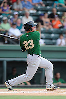 Designated hitter Matt Oberste (23) of the Savannah Sand Gnats bats in a game against the Greenville Drive on Friday, August 22, 2014, at Fluor Field at the West End in Greenville, South Carolina. Greenville won, 6-5. (Tom Priddy/Four Seam Images)
